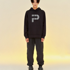 FINGER PRINT POCKET HOOD _ BLACK